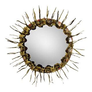 Round Brutalist Sunburst Mirror