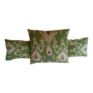 Striped Back Green Ikat Pillows- Set of 3