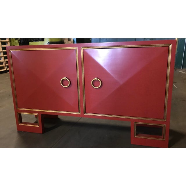 Truex American Furniture Red Lacquer St Regis Cabinet - Image 2 of 4
