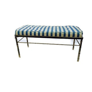 Vintage Faux Bamboo Brass Tufted Cushion Bench