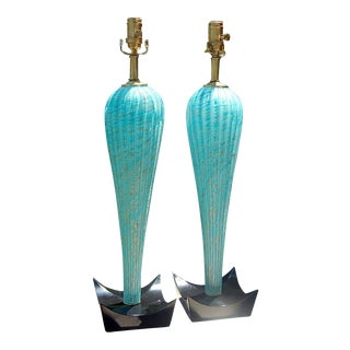 Turquoise and Gold Murano Lamps by Seguso