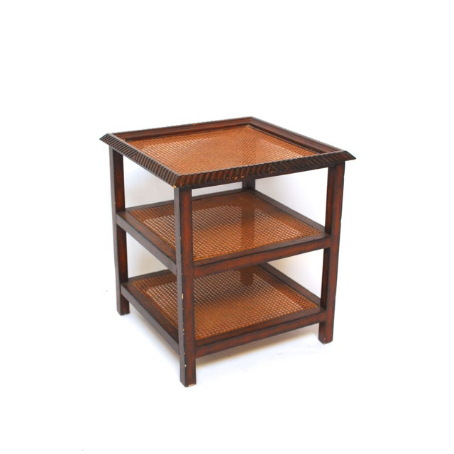 Three Tiered Caned Walnut Side Table - Image 3 of 6