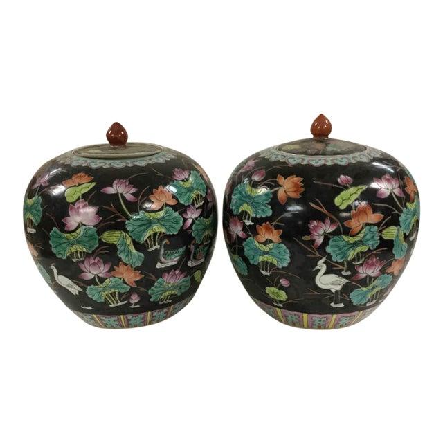 Black Vintage Melon Jars - A Pair - Image 1 of 8