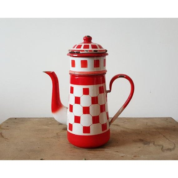 Red French Vintage Enamelware Coffee Pot - Image 2 of 4