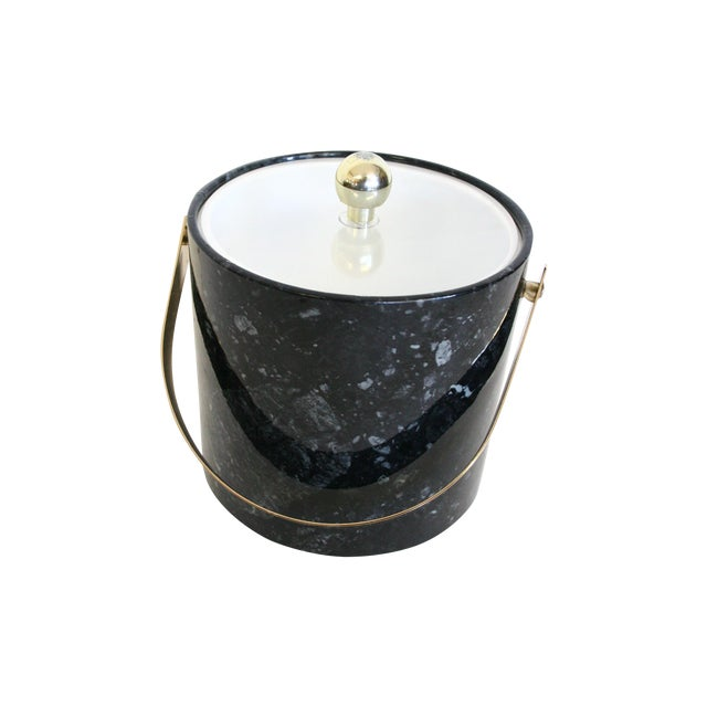 Image of Faux Black Marble and Gold Ice Bucket