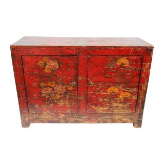 Vintage Red Painted Floral Cabinet