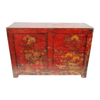 Vintage Red Painted Floral Cabinet