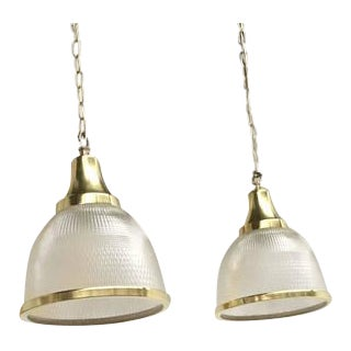 Large Holophane Glass and Brass Pendants Made in the United Kingdom