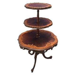 Mahogany Carved Inlaid Dumbwaiter Table