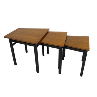 Set of Three Trapezoid Nesting Tables in Walnut by Edward Wormley for Dunbar