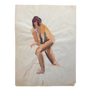 1970s Vintage Figurative Female Nude Painting