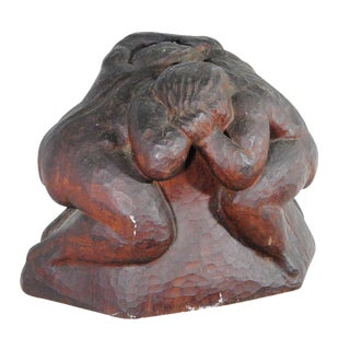1930s Vintage Hand Carved Sumo Wrestlers Sculpture
