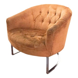 Milo Baughman Style Mid Century Chrome Tufted Upholstered Chair