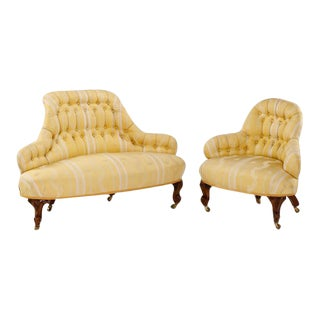 "19th Century Upholstered Four-Part ""Borne Settee"" or Round Sofa"
