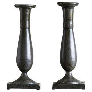 Pair of Antique Biedermeier Period Pewter Candlesticks, Austria circa 1830