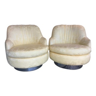 Milo Baughman Mid-Century Swivel & Rocking Slipper Chairs - A Pair
