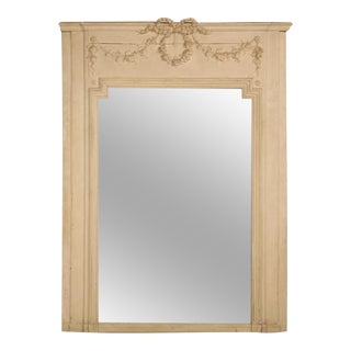 Antique French Mirror in Old Paint and Original Glass