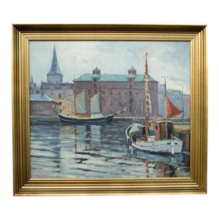 Copenhagen Canal Motif Painting by Einar Gross