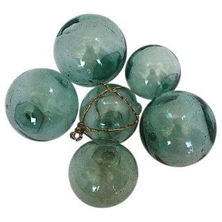 Vintage Japanese Glass Fishing Floats - Set of 6