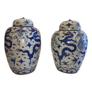 Antique Chinese Dragon Blue and White Jars - A Pair
