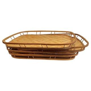 Handmade Bamboo & Raffia Trays - Set of 4
