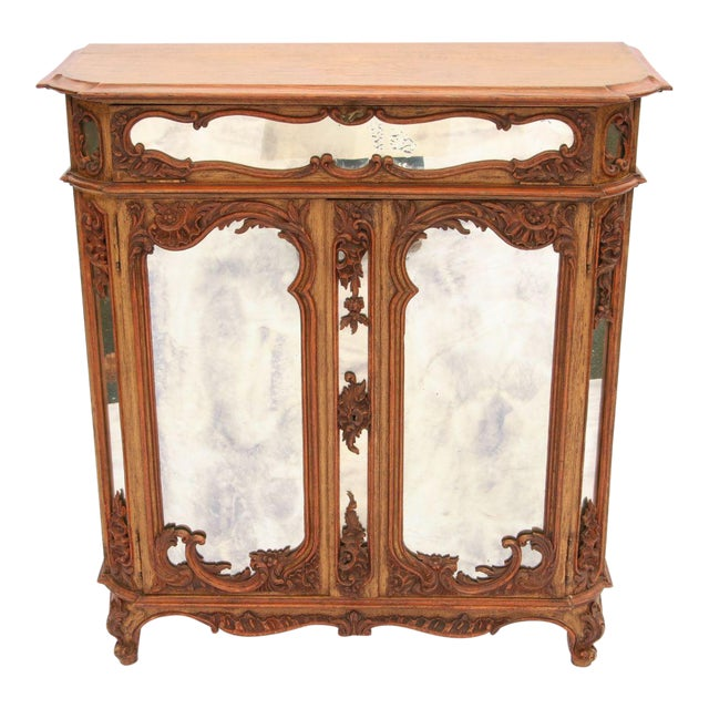 Louis XV Mirrored & Carved Oak Cabinet - Image 1 of 11