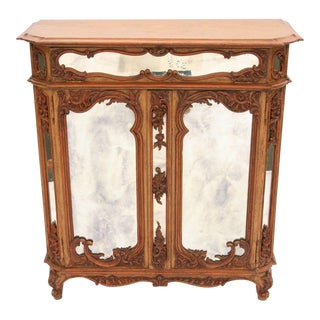Louis XV Mirrored & Carved Oak Cabinet