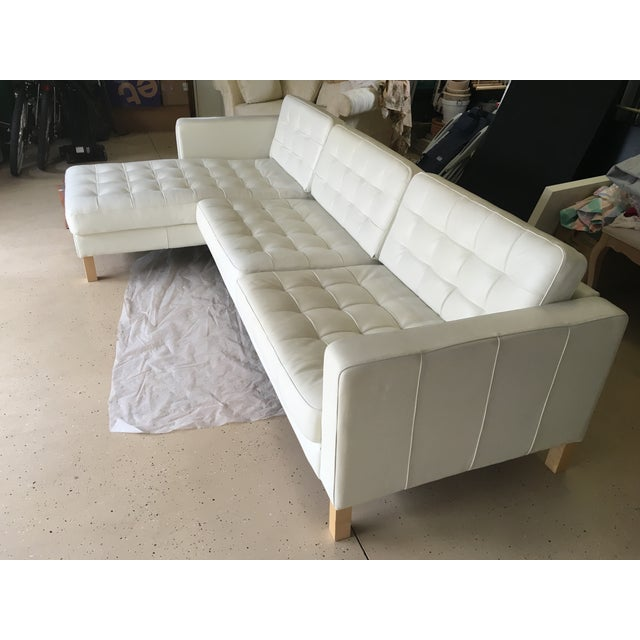White Leather Sectional Sofa: Contemporary Tufted White Leather Sectional Sofa