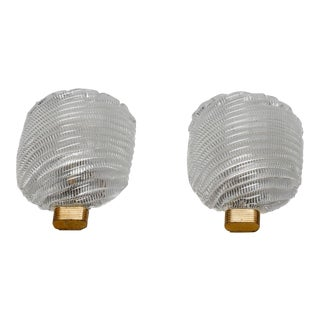Pair Ribbed Murano Glass and Brass Sconces