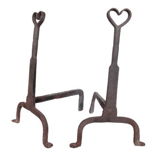 Incredible Vintage Artisan Hand-Crafted Iron Heart Andirons - a Pair