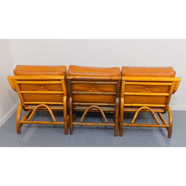 Vintage Naugahyde Mid-Century Modern Bamboo & Brown Vinyl Sofa Set - 3 Pcs. - Image 6 of 11