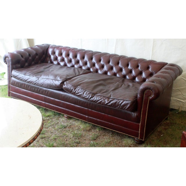 Vintage Burgundy Leather Chesterfield Tufted Sofa Chairish
