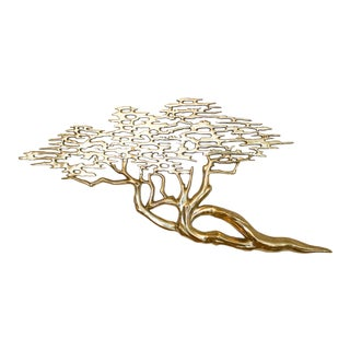Solid Brass Cypress Tree / Bonsai Tree Wall Sculpture