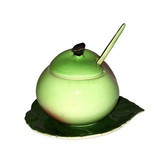 English Porcelain Pear Jam Jar & Tray