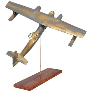 Vintage Wood Airplane Sculpture WWII
