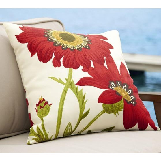 Image of Red Poppy Floral Outdoor Decorative Pillows - Pair