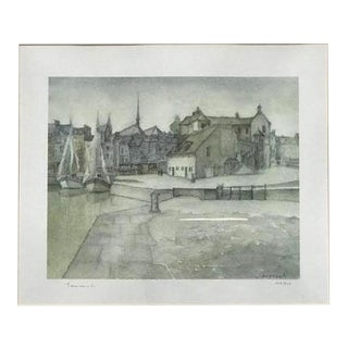 English Harbor Watercolor Painting, Signed and Numbered