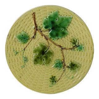 19th Majolica Vine Leaves Plate