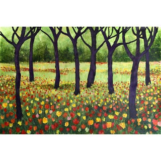"""Trees and Tulips"" Acrylic Painting"
