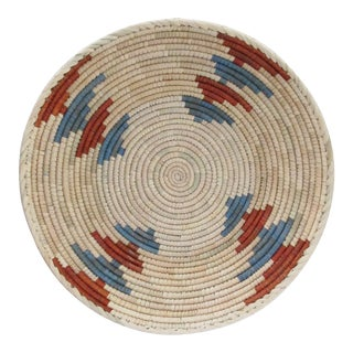 Native American Style Rust & Blue Alternating Basket