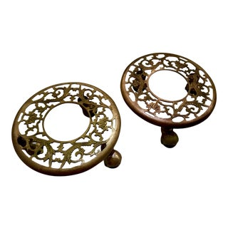 Vintage Chinese Rolling Brass Plant Stands - A Pair