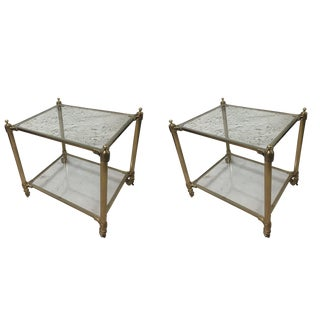 Williams Sonoma Home Glass Side Tables - A Pair