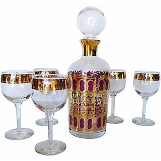 Mid Century 6-Piece Bar Set with Carafe