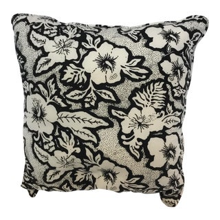 Black and White Floral Cotton Balinese Pillow