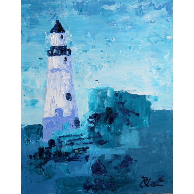 """""""Lighthouse #1"""" Blue Painting by Celeste Plowden - Image 1 of 2"""