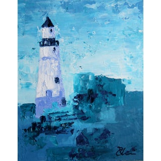 """""""Lighthouse #1"""" Blue Painting by Celeste Plowden"""