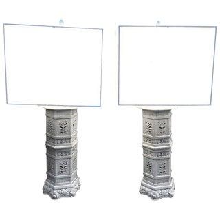 Asian Inspired Ceramic Lamps - A Pair