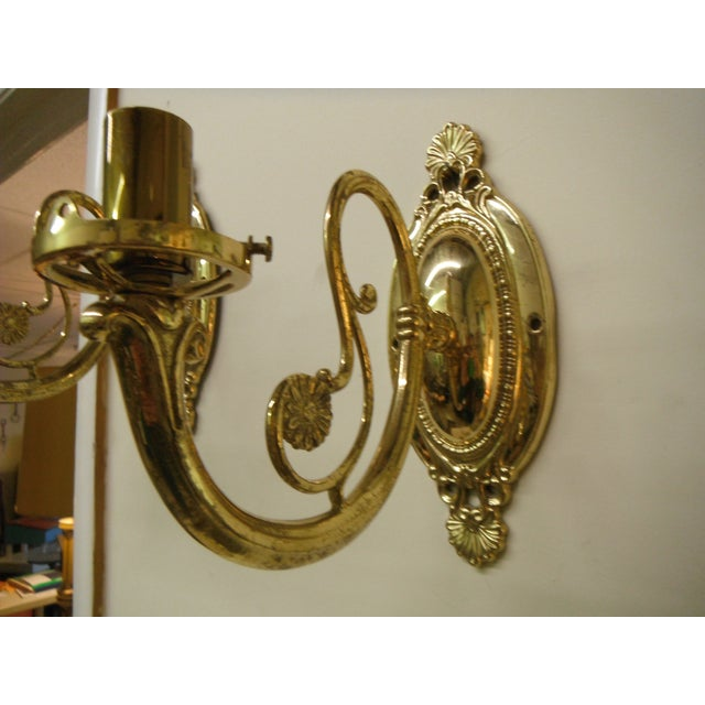 Vintage Brass Electric Wall Sconces - Pair - Image 3 of 8