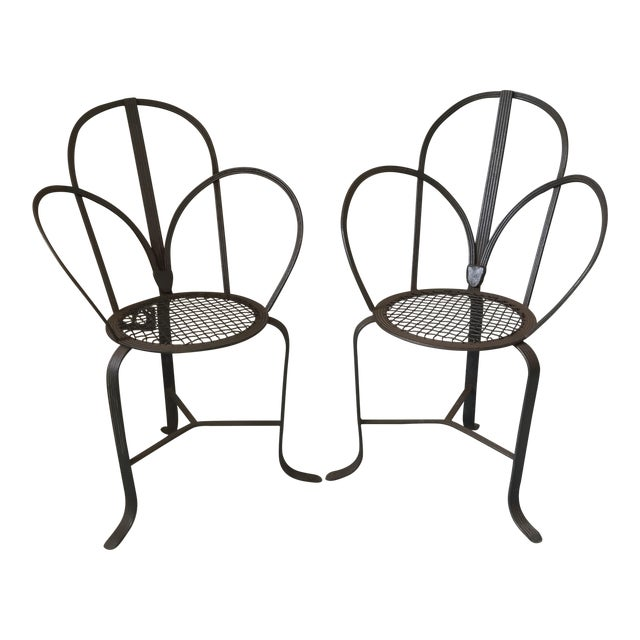 Crate & Barrel Iron Chairs - A Pair - Image 1 of 7