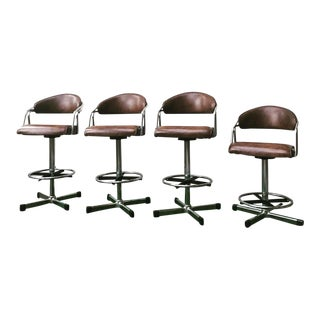 Vintage Samsonite Chrome & Vinyl Barstools - Set of 4
